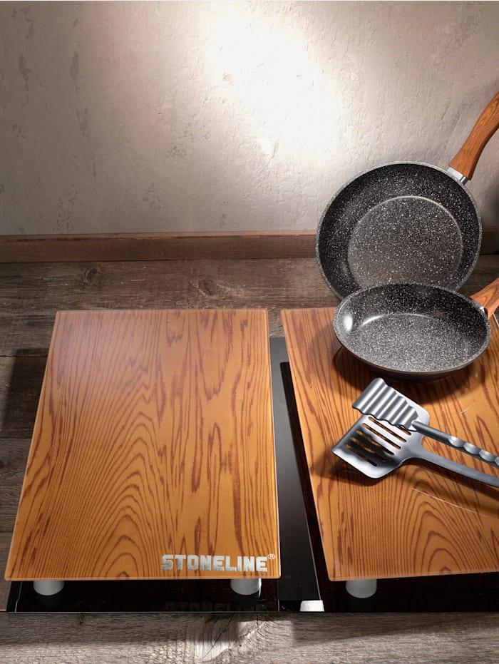 Stoneline Ensemble de cuisson aspect bois STONELINE® 5 pièces, Noir/marron