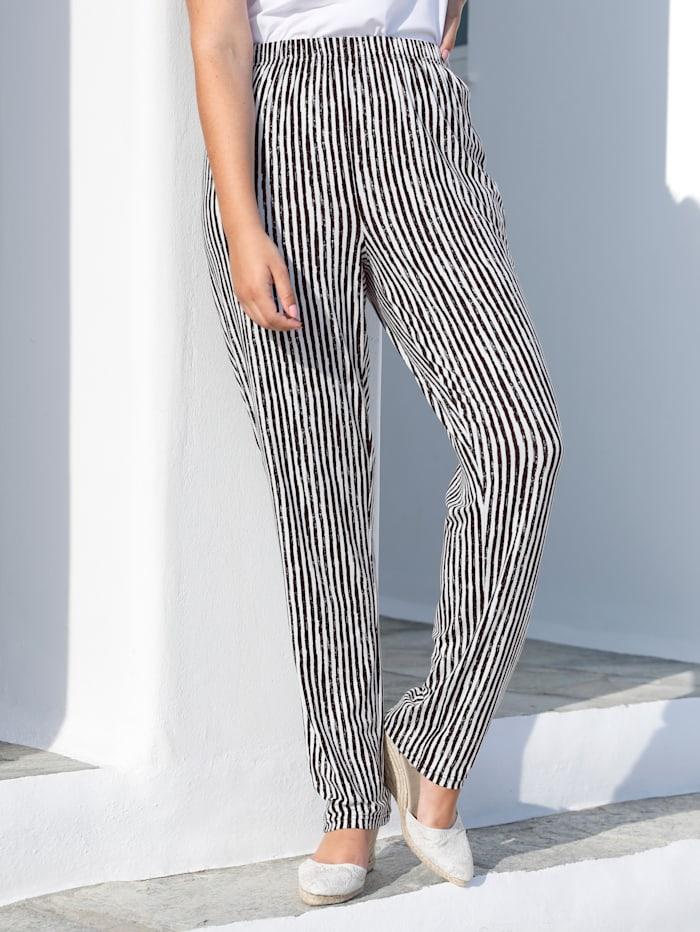 MIAMODA Jersey broek in comfortabel instapmodel, Wit/Zwart