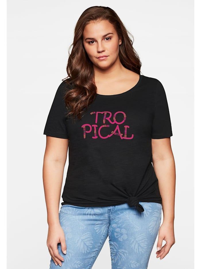 Sheego T-Shirt zum Knoten, schwarz