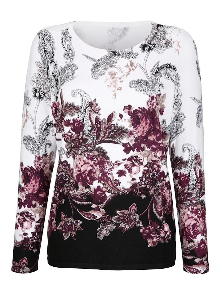 Finstickad tröja med blommor och paisley