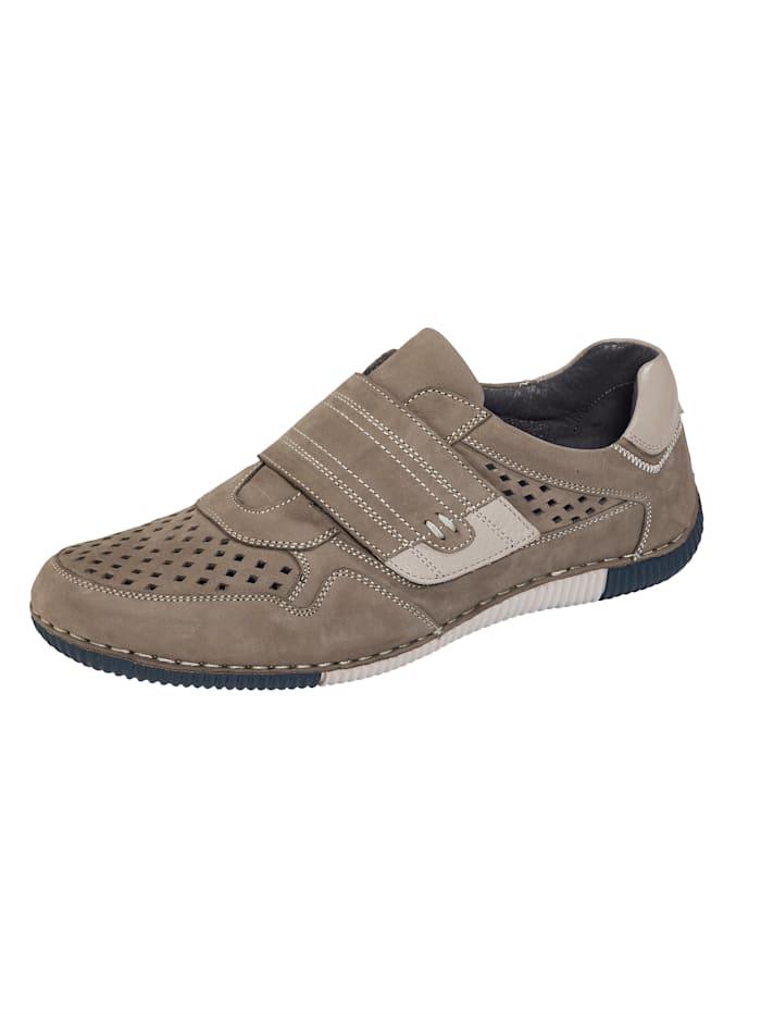 Klittenbandschoen met luchtige perforaties, Grijs