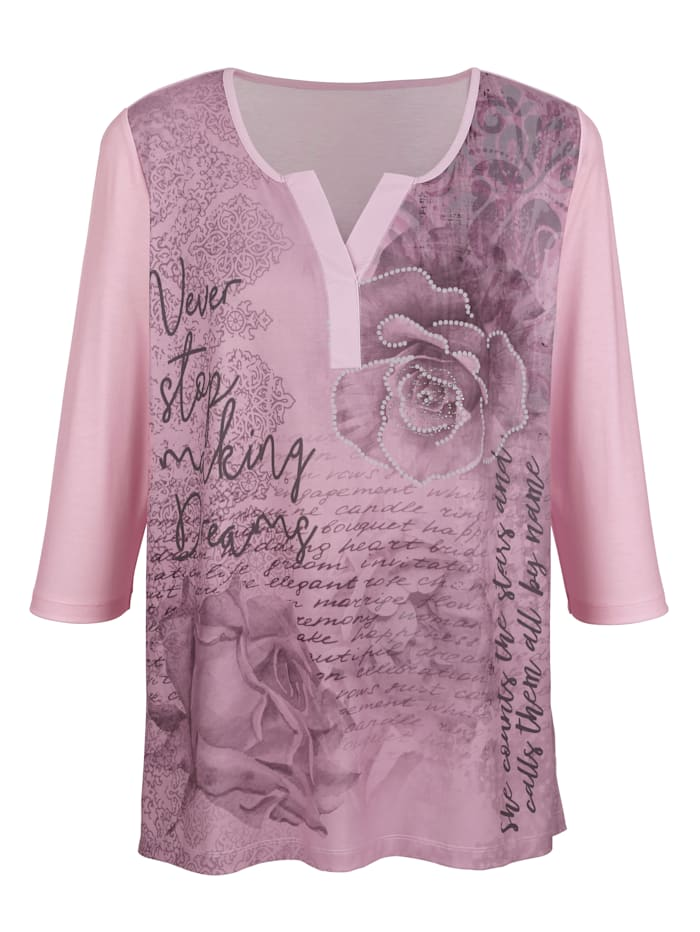m. collection Shirt mit glitzernden Nieten, Rosé