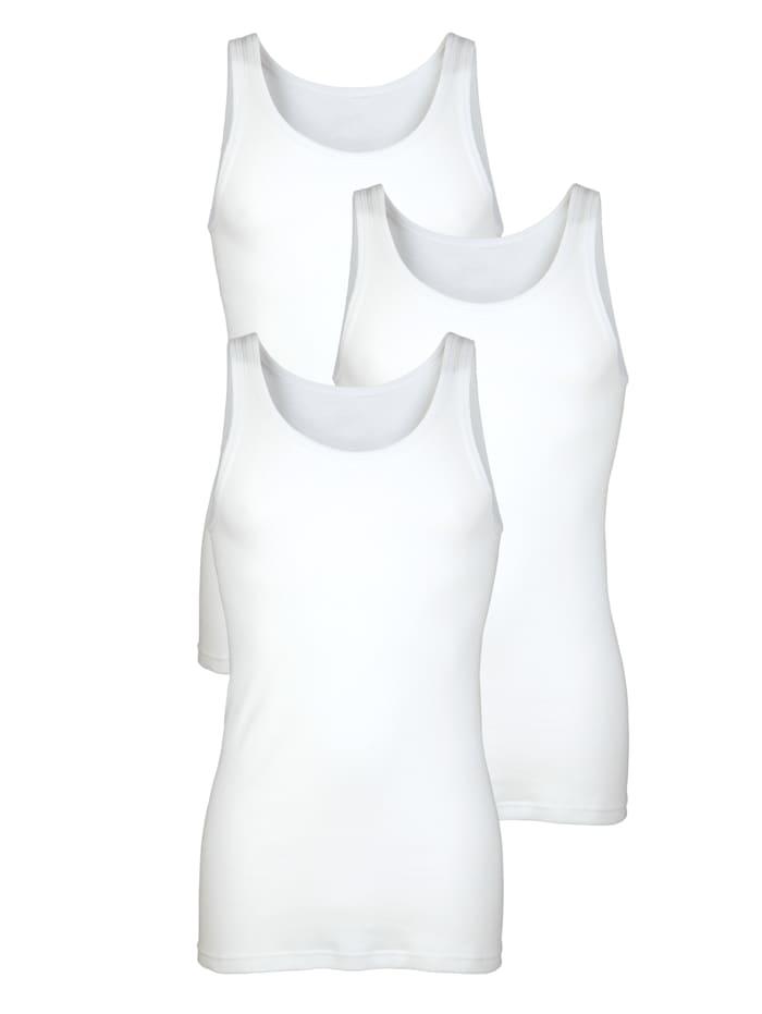 HERMKO Hemden per 3 stuks in singletmodel 3 stuks, wit