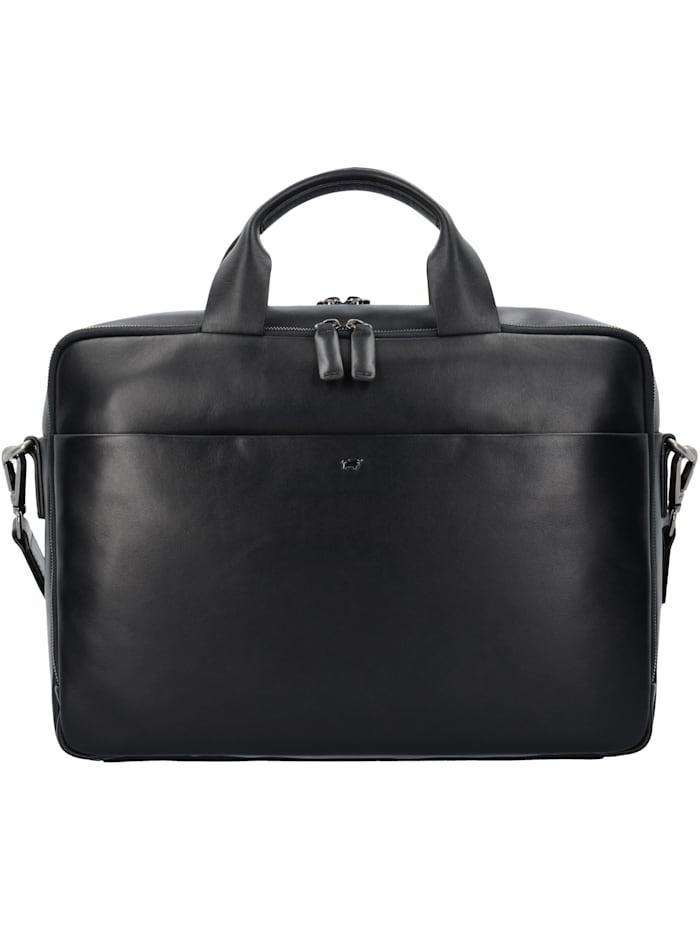 Braun Büffel Livorno L Aktentasche Leder 40 cm Laptopfach Tragegriff, Stiftelaschen, Schlüsselhalter, schwarz