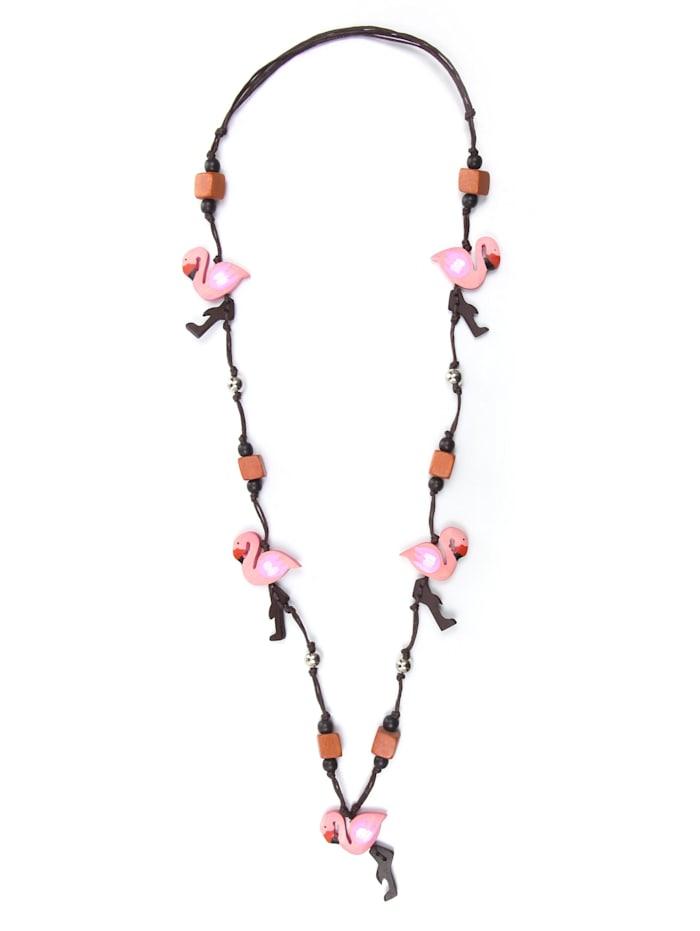 Collezione Alessandro Lange Kette Flamingo kleine Holzflamingos, rosa