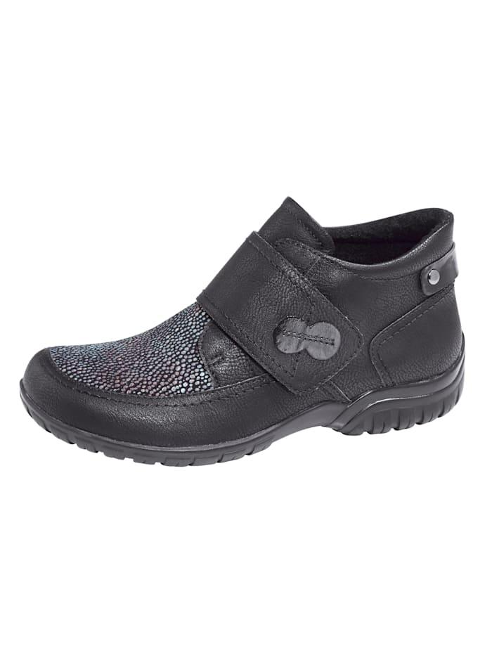 Naturläufer Klittenbandschoen met elastische inzetten, Zwart