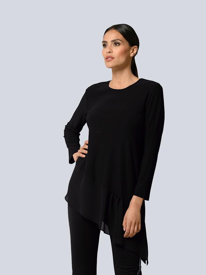 Alba Moda Shirt mit asymmetrischem Web-Einsatz am Saum, Schwarz