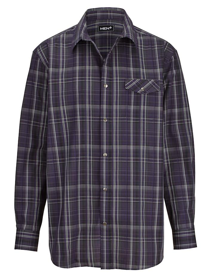 Men Plus Rutig skjorta, Lila/Grå/Vit