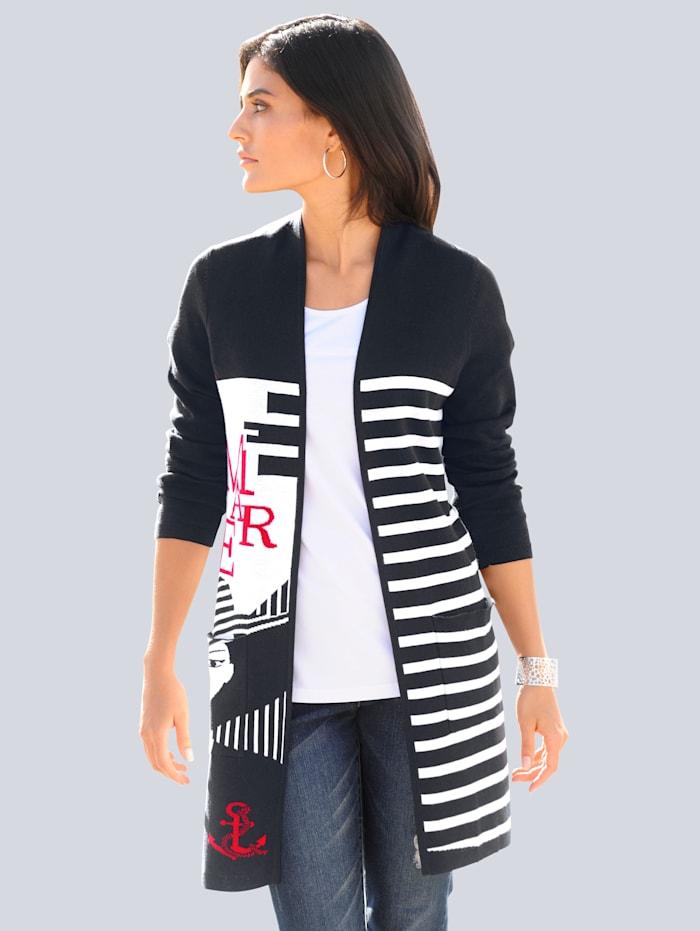 Alba Moda Vest van jacquard, Marine/Rood/Wit