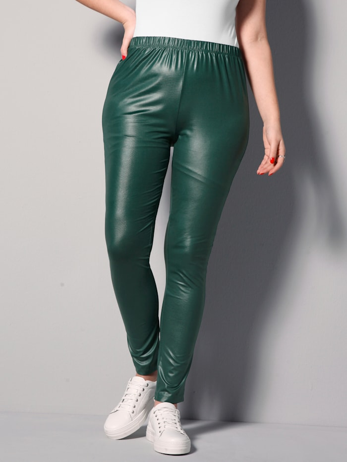 MIAMODA Leggings aus leicht glänzender Qualität, Dunkelgrün