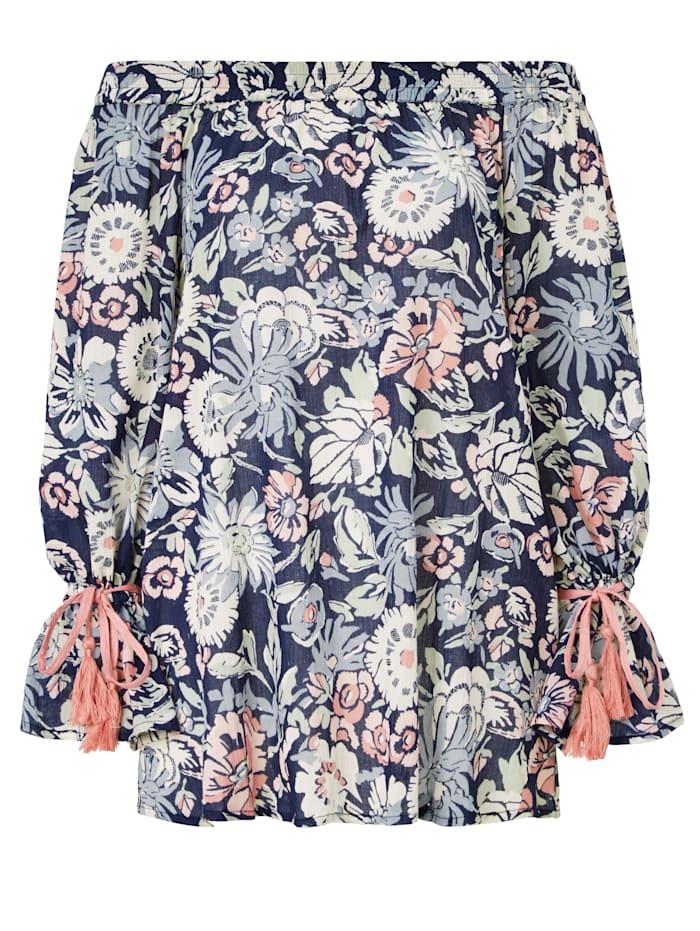 SIENNA Bluse Carmenausschnitt mit floralem Druck, Dunkelblau