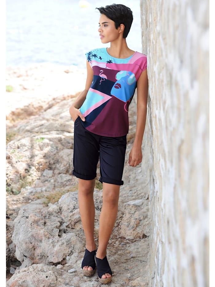 Alba Moda Strandshirt mit Motivdruck, Bleu-Bunt