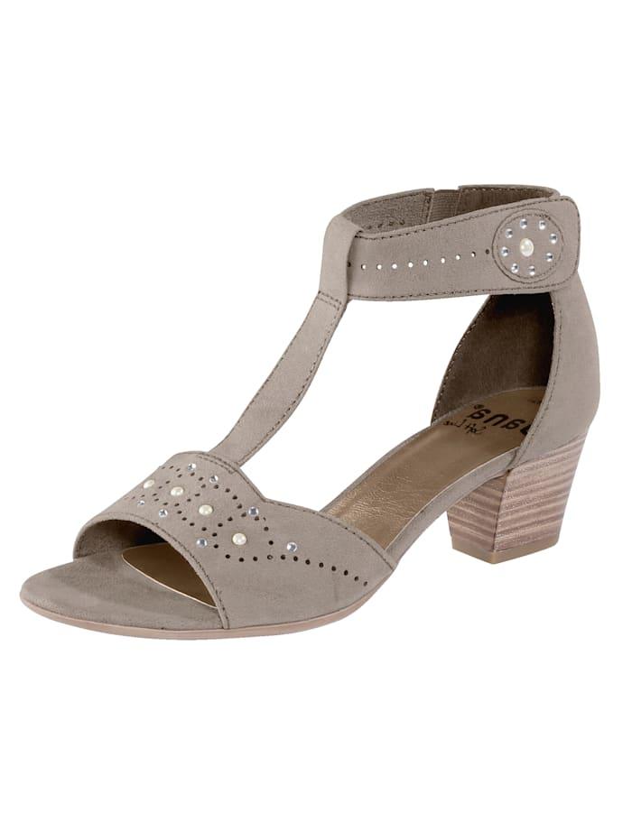Softline Sandale mit Klettverschluss an der Fessel, Taupe
