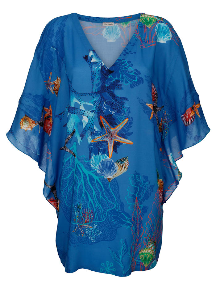 Alba Moda Strandtunika mit Unterwassermotiven, Blau-Bunt