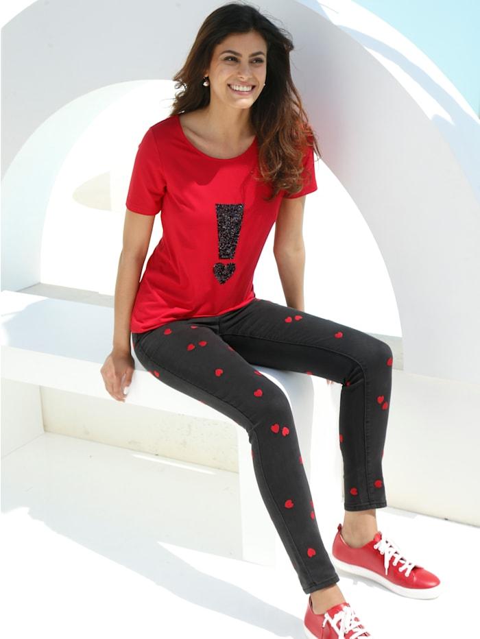 AMY VERMONT Jeans mit Herz-Aufdruck, Schwarz