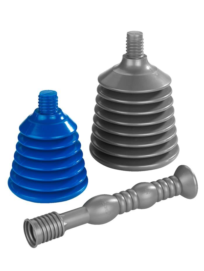 Wenko Gootsteenontstopper, 3-delige set, grijs/blauw