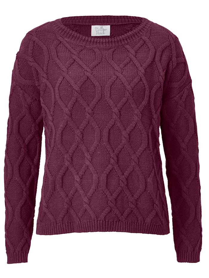 Mellow Peach Pullover mit Zopfmuster, Beere