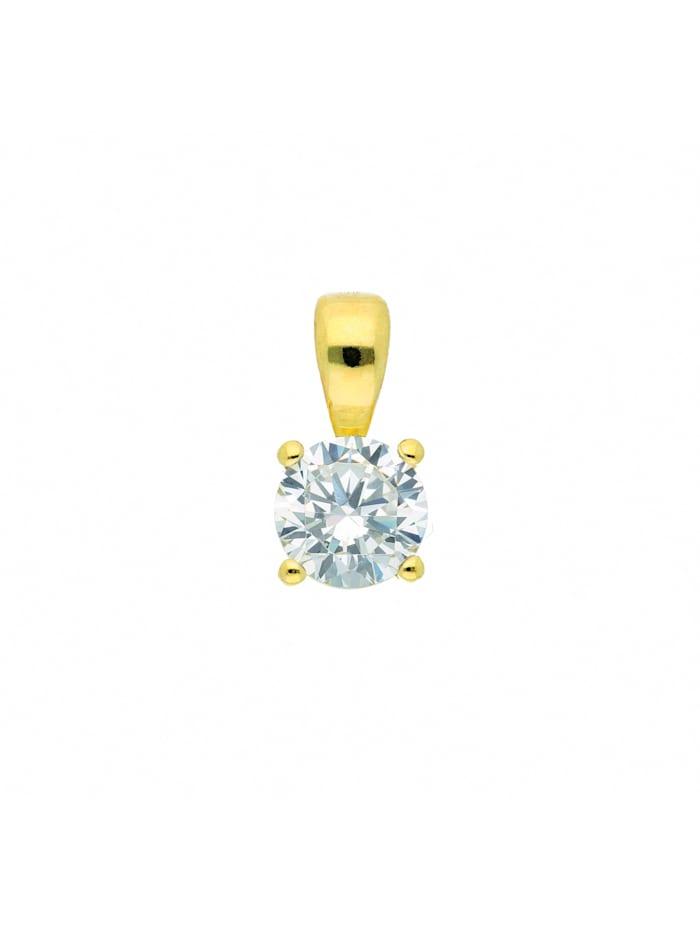 1001 Diamonds Damen Silberschmuck 925 Silber Anhänger mit Zirkonia Ø 5 mm, vergoldet