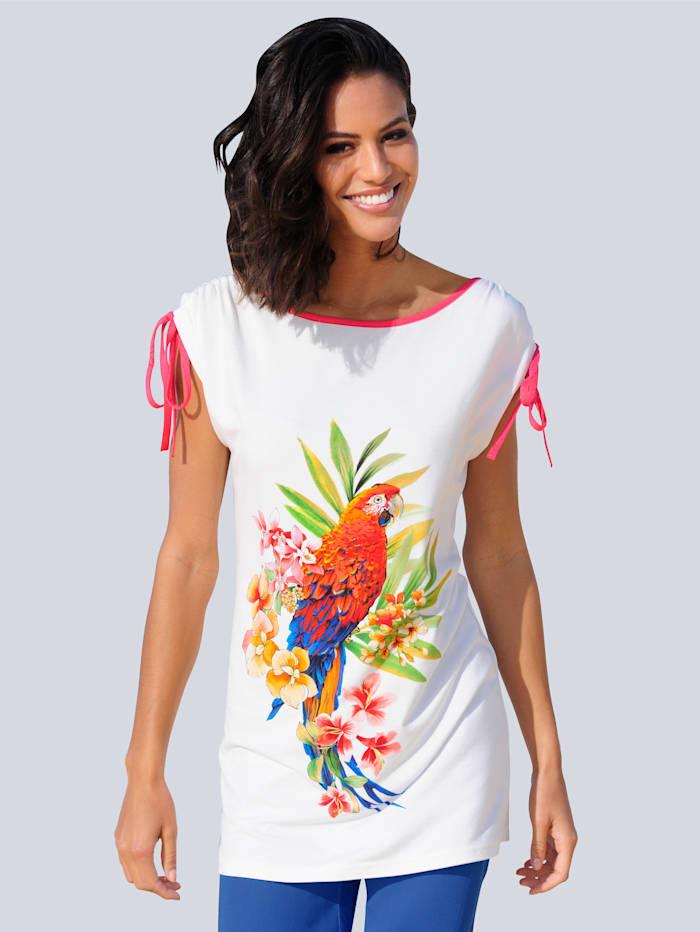 Alba Moda Strandshirt mit roter Paspel, Weiß