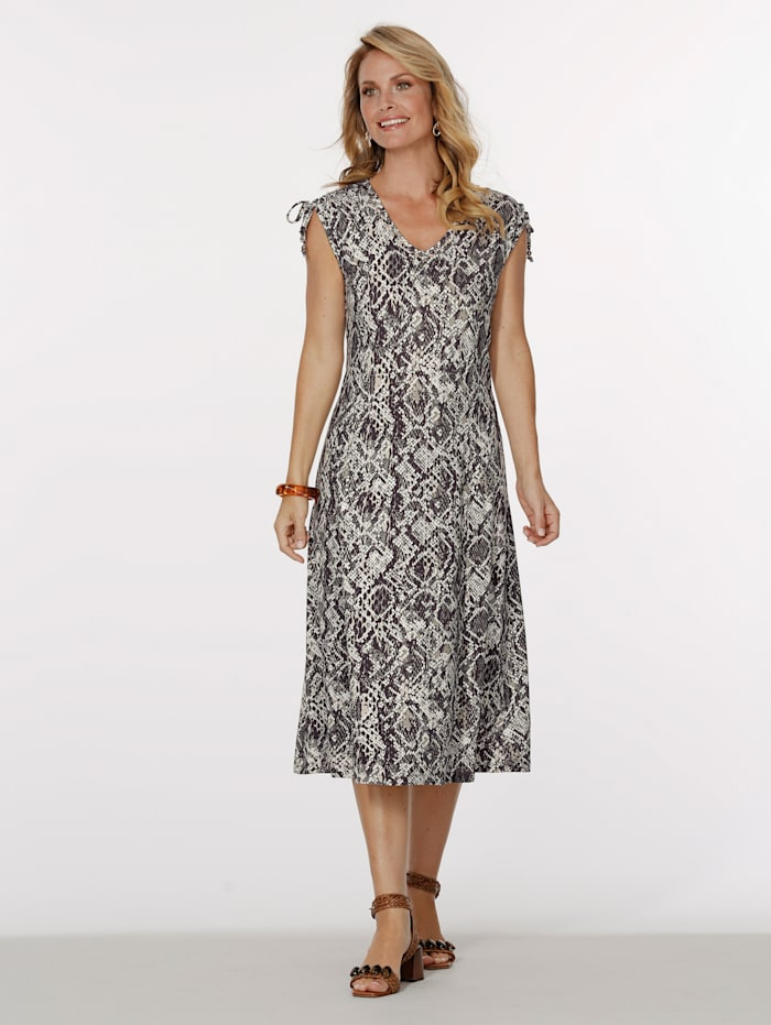 MONA Jersey dress with beaded detailing, Brown/Ivory