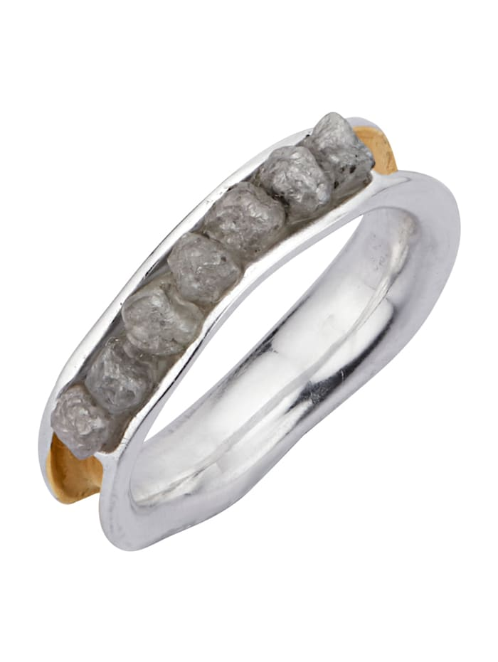 Damenring mit Rohdiamanten