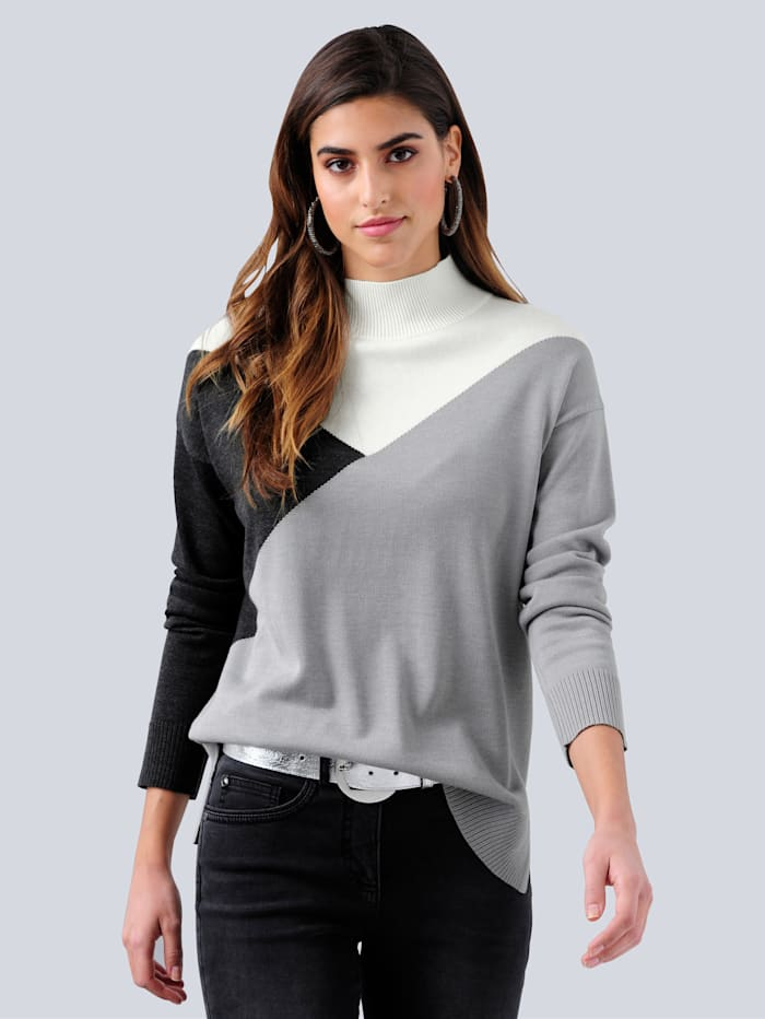 Alba Moda Pulovr v Colour-Blocking designu, Šedá/Přírodní bílá/Antracitová