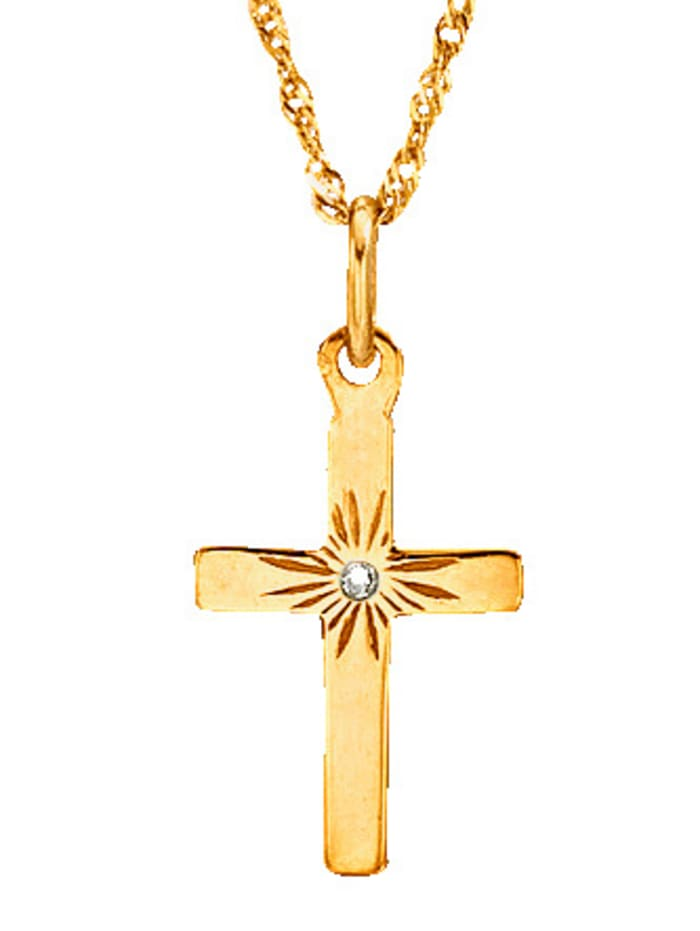 Hanger Kruismet diamant en ketting, Geelgoudkleur