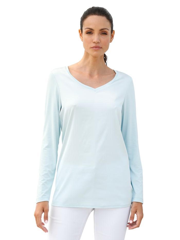 AMY VERMONT Shirt mit Vorderteil in Glanzoptik, Mintgrün