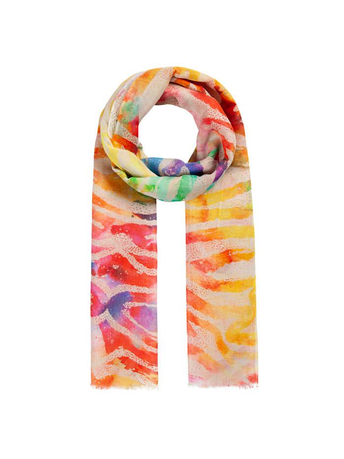 Codello Sommerleichter Zebra-Schal aus Leinen und Baumwolle, pink