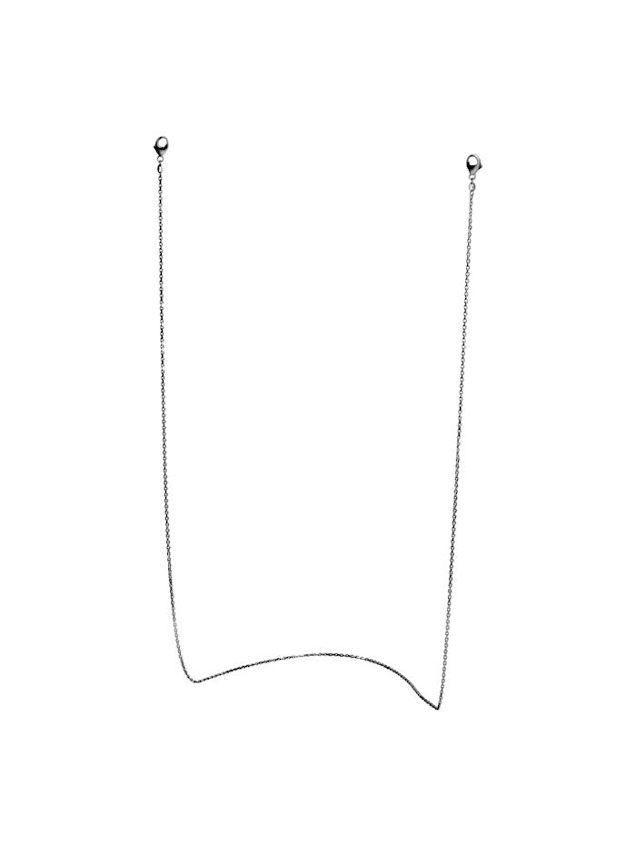 ZEEme Brillenkette Maskenkette 925/- Sterling Silber 70cm Diamantiert, schwarz