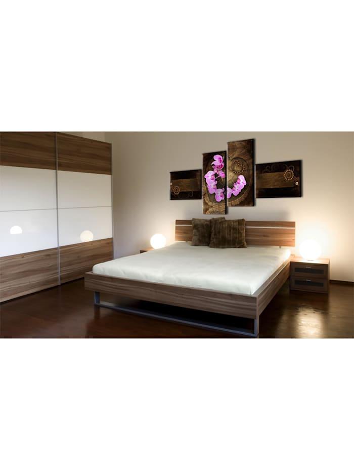Wandbild Orchidee und Holz
