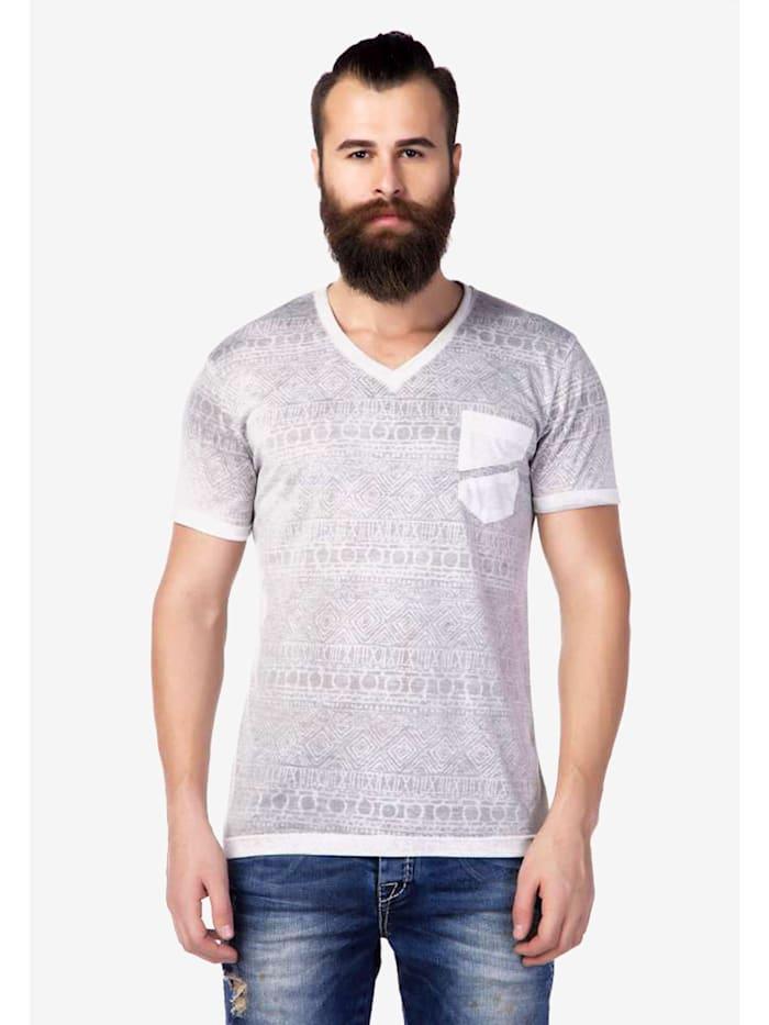 Cipo & Baxx V-Shirt mit dezentem Allovermuster, Anthracite