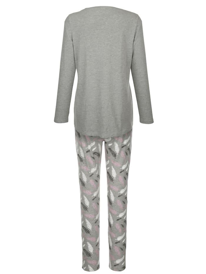Pyjama met moderne verenprint