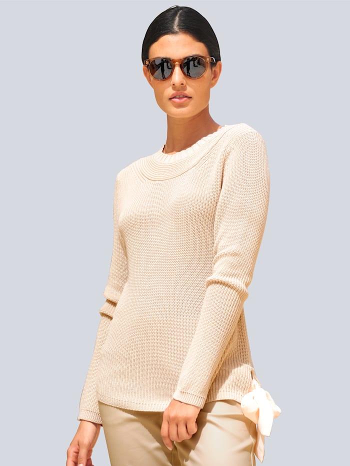 Alba Moda Pullover mit trendiger Schleifenverarbeitung, Sand