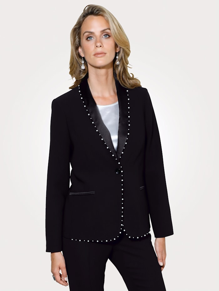 MONA Blazer with satin and faux pearl detailing, Black
