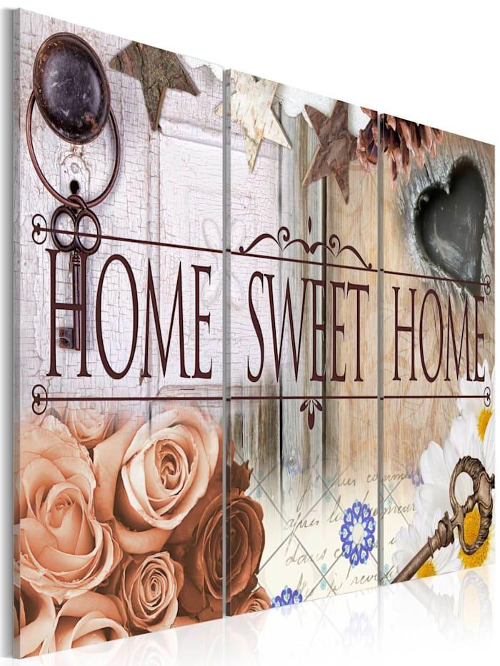 artgeist Wandbild Home in vintage style, Creme,Blau,Weiß,Grau,Braun,Beige