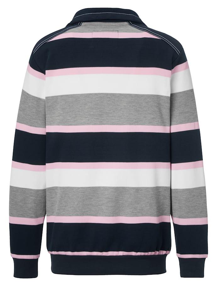 Sweat-shirt à motif rayé tissé-teint