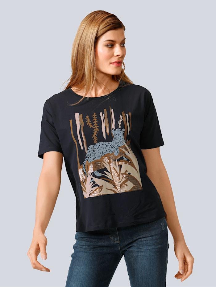 Laurèl Shirt mit Motiv auf dem Vorderteil, Blau
