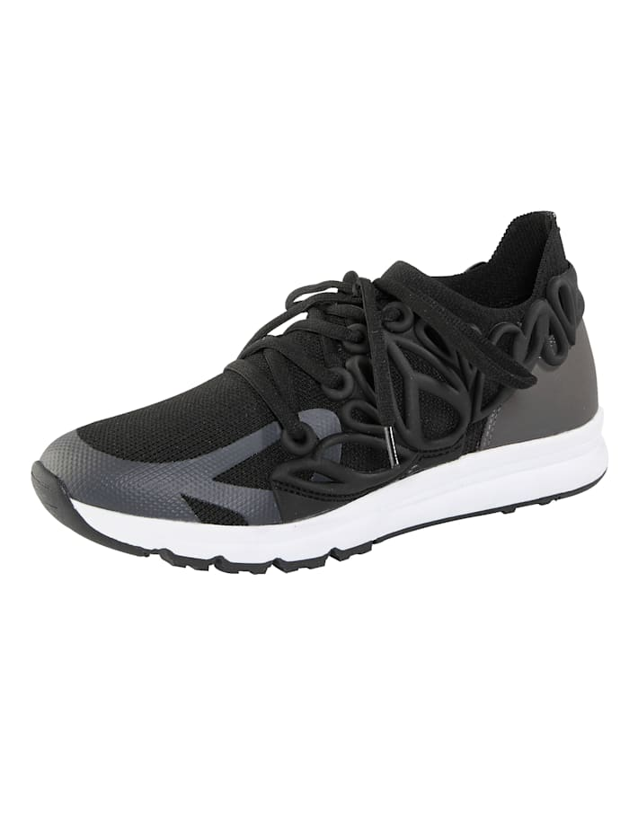 Liva Loop Sneaker aus elastischem Textilmaterial, Schwarz