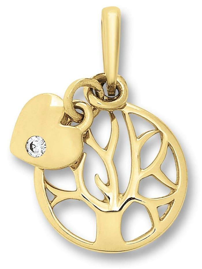 One Element Damen Schmuck Anhänger Lebensbaum aus 333 Gelbgold Zirkonia, gold