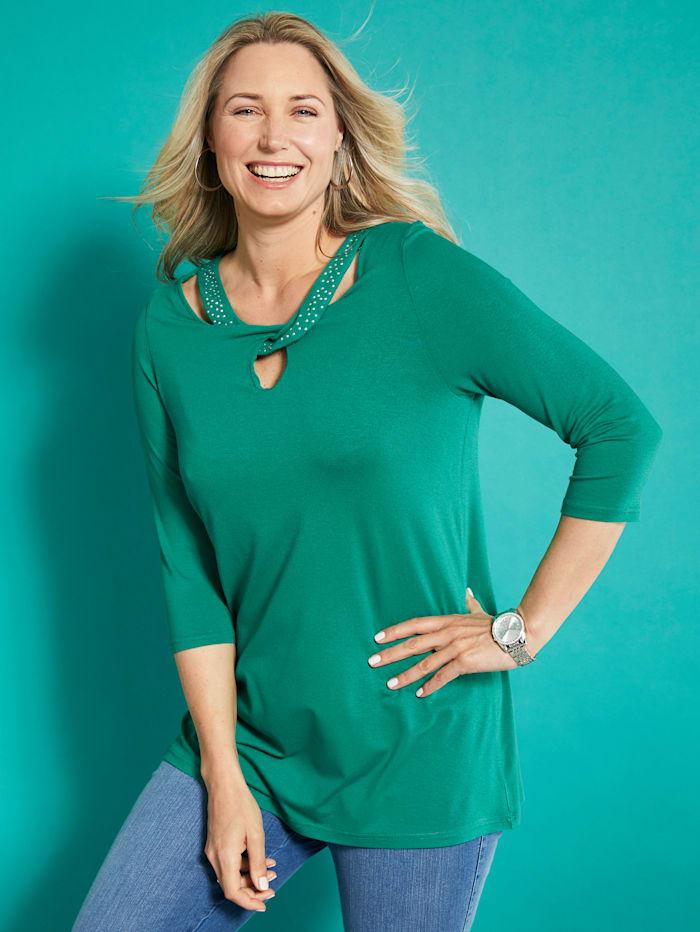 MIAMODA Shirt mit ausgefallenem Ausschnitt, Grün