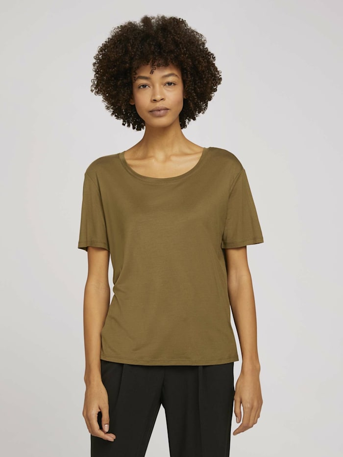 Tom Tailor mine to five Schlichtes T-Shirt aus Lyocell, Military Olive Green