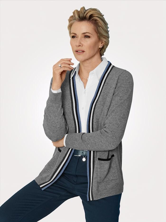 MONA Vest van zuiver kasjmier, Lichtblauw/Marine/Ecru