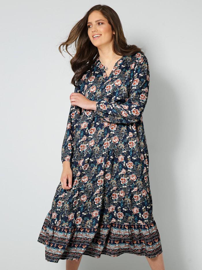 Janet & Joyce Web-Kleid mit floralem Dessin, Marineblau/Hellblau
