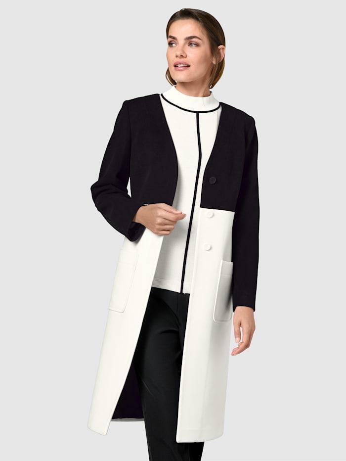 Alba Moda Mantel in schönem Colourblocking-Dessin, Schwarz/Off-white