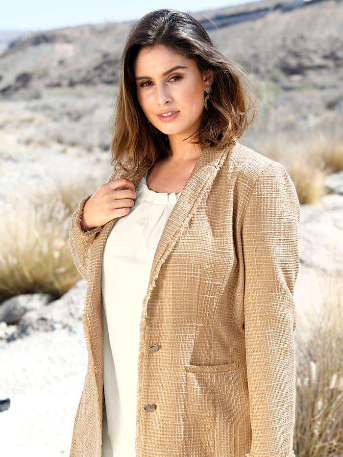 Sara Lindholm Blazer in Bouclé-Qualität, Sand