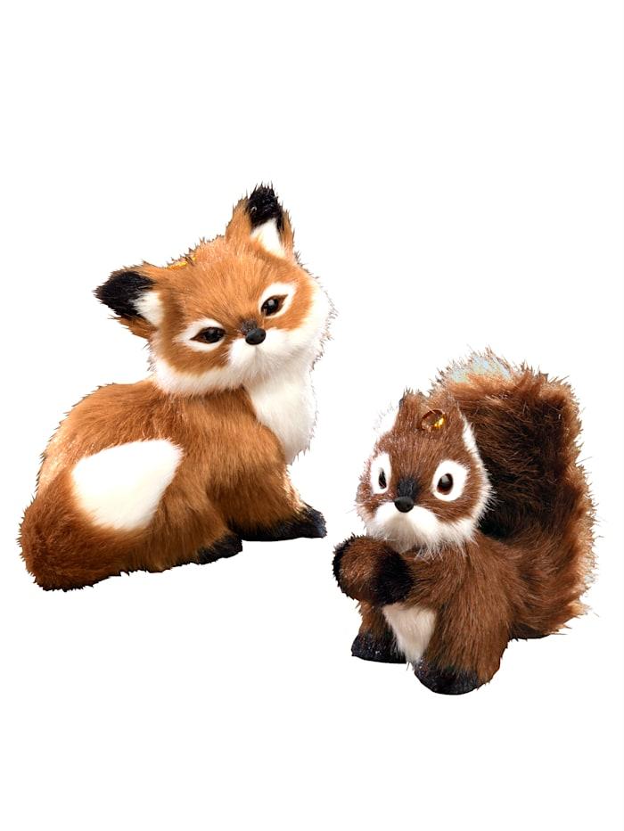 Lot de 2 figurines : renard et écureuil