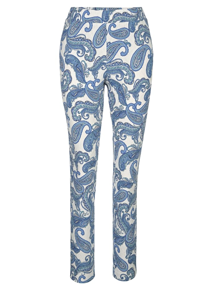 Pull-on trousers with a paisley print