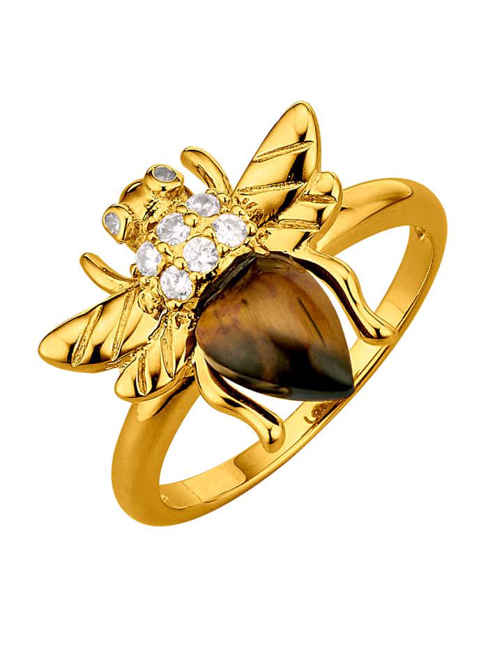 Bienen-Ring mit Tigerauge, Braun