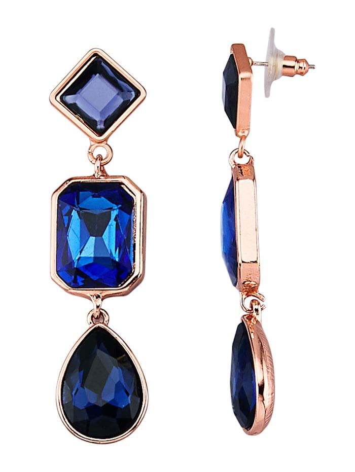Ohrringe mit blauen Glassteinen, Blau